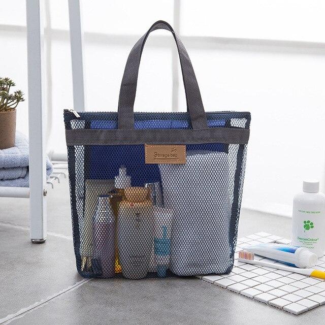 Mesh Storage Bag Beach Gym Bath Waterproof Travel Organizer Cosmetic Makeup Tool Carry Female Handy Pouch Kids Toy Bag