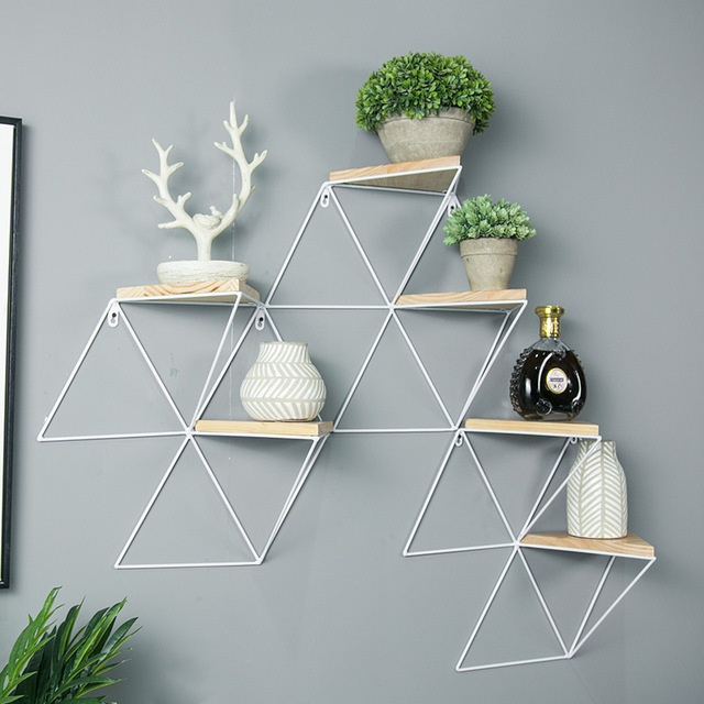 Wall Shelf Decoration Wall Plaid Simple Creative Wood Shelf Wall Hanging Shelf 1