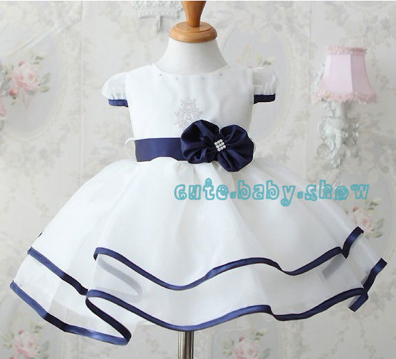 New baby girl pure white bow princess dress stereoscopic flower belt with the dress Rhinestone yarn dress Free Shipping!