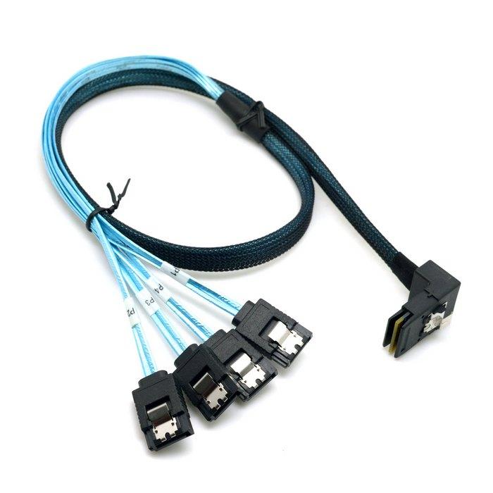 50 pieces/lot Down Angled 90 Degree Mini SAS 4i SFF-8087 Host to 4 SATA 7Pin Target Hard Drive Splitter Cable 50cm