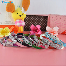 Bling Pu Leather 10MM Personalized font b Dog b font Pet Puppy Cat Collar with Free