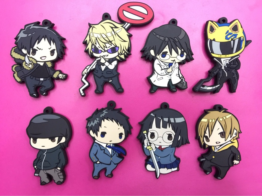 8pcslot Durarara Original Japanese anime figure rubber Silicone sweet smell mobile phone charmskey chainstrap G445