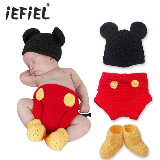 54cc8ae0d 1 مجموعة للجنسين الطفل الرضيع الكروشيه الطفل قبعة ، غطاء حفاظه ، الأحذية  الزي صور الدعامة