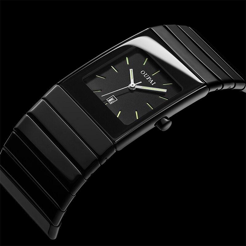 OUPAI Classic Black Squire Ceramic Calendar Dat Watch Tritium Light mens Watch Quartz e Luminous Waterproof Military Watches 3