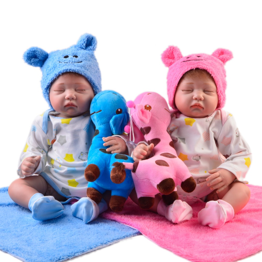 Reallike 22'' Reborn Baby Dolls Soft Silicone Twins Sleeping Reborn Baby Alive Dolls Lifelike 55 cm For Kids Birthday Gifts realistic ethnic dolls reborn baby dolls 22 55 cm soft silicone baby alive doll wear clothes so truly baby toys birthday gifts