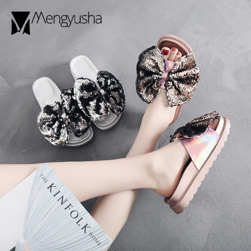 fashion colorful leather flip flops women gold sliver glitter bow platform  sandals ladies summer beach slippers shoes c357-in Low Heels from Shoes on  ... 8d8154ca12c4