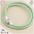 Hot sale Very Popular Famous Brand Different Color Two Circles Braided Leather Cord With S925 Clasp