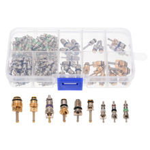 134pcs A/C AC Schrader Valve Cores Assortment For R134a R12 9 Kinds Kit Car Accessories Tools