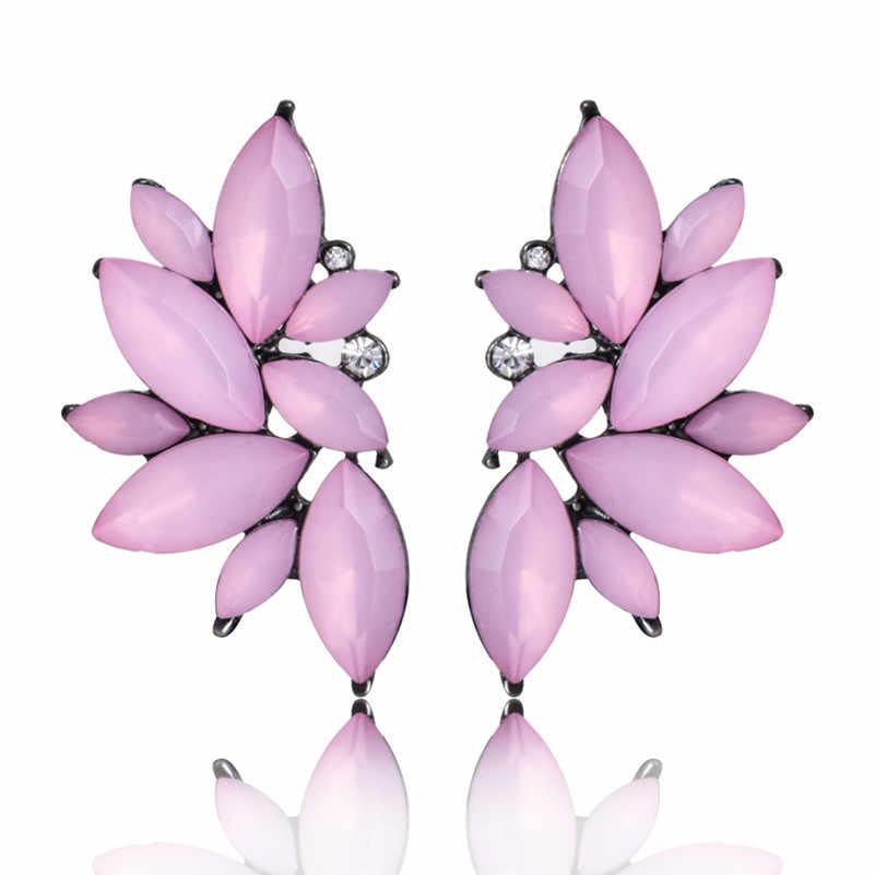E0160 nouveau Design eau gemme pierre Stud boucle d'oreille Vintage rouge noir verre boucle d'oreille pour les femmes 2017 mode cristal bijoux de mariage