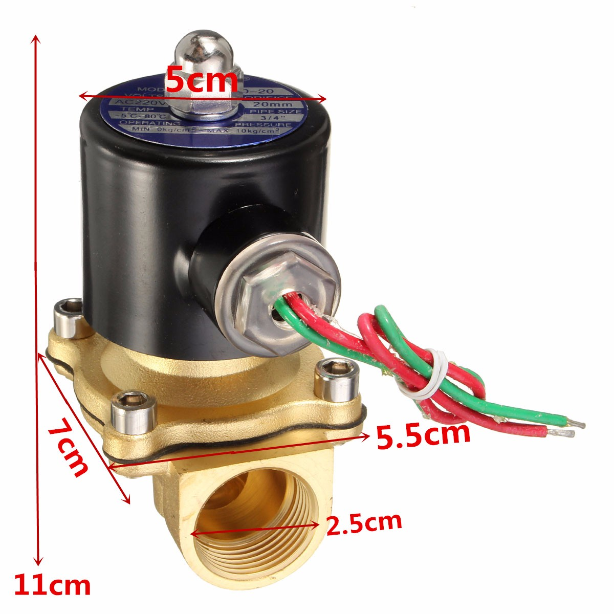 AC 220V 3/4 Brass Electric Solenoid Valve Water Air Fuels Black 2W-200-20 Hot New Arrival  Electric Solenoids