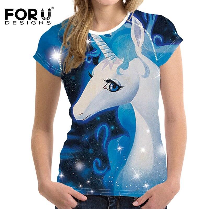 FORUDESIGNS Mode Einhorn T Shirts Frauen Tops, lustige T-Shirt Femme - Damenbekleidung - Foto 1