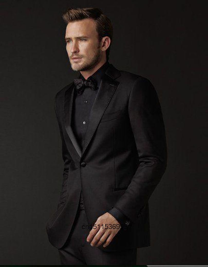 Fashion Style Man Suit One Button Groom Tuxedos Black Groomsmen ...