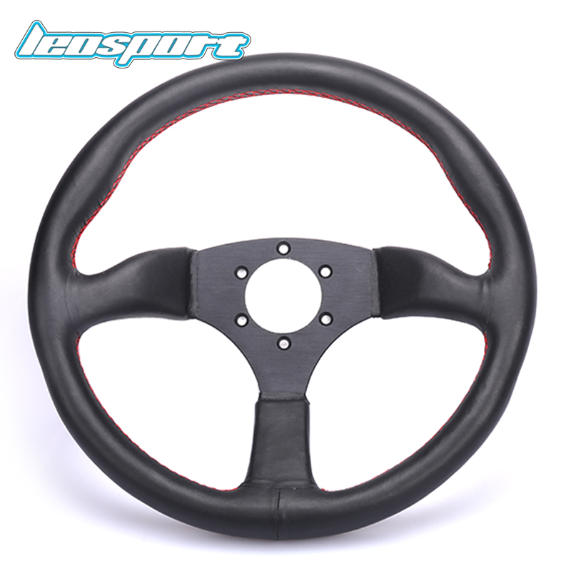 Universal 14 inch 350mm Steering Wheel Really Leather Red Stitching Steering Wheel Game Racing Black With LOGO With Horn Button new 320mm yellow pvc sport spoke car racing steering wheel carbon firbre horn button ep fxp06om p