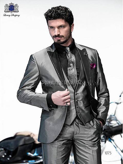 Online Shop Customize Made silver grey Groom Tuxedos Elegant Custom ...
