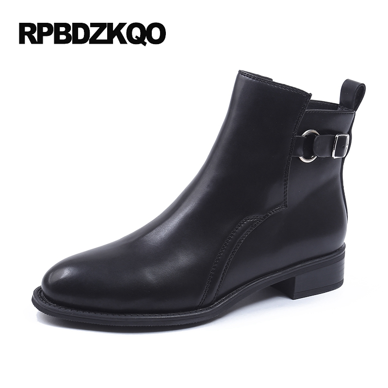 Slip On Booties Flat Fashion Chunky Round Toe Black Shoes Waterproof Winter Boots Women Autumn Ankle Chinese Metal Fur Female women ankle boots medium heel genuine leather booties vintage thick suede round toe chunky shoes slip on platform brown fall