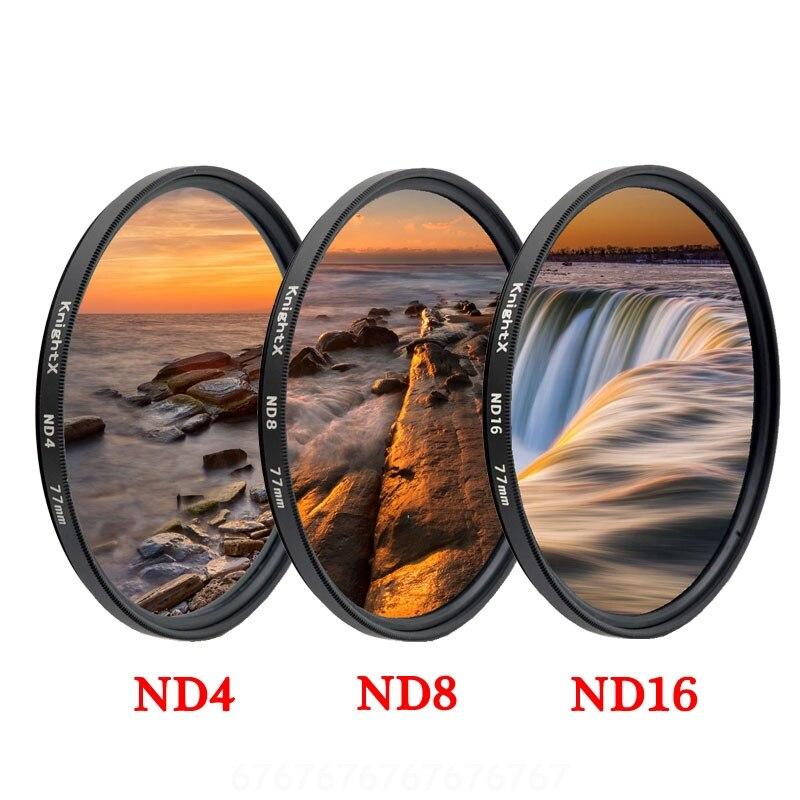 KnightX ND2 ND4 ND8 ND16 ND 49mm 52MM 58MM 67MM 77MM Camera Lens Filter For Canon Eos Sony Nikon Dslr Set Kit  Accessories 60d