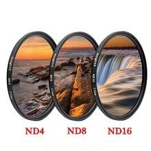 KnightX ND2 ND4 ND8 ND16 ND 49mm 52MM 58MM 67MM 77MM Filtro de lente de cámara para canon eos sony nikon dslr set accesorios 60d