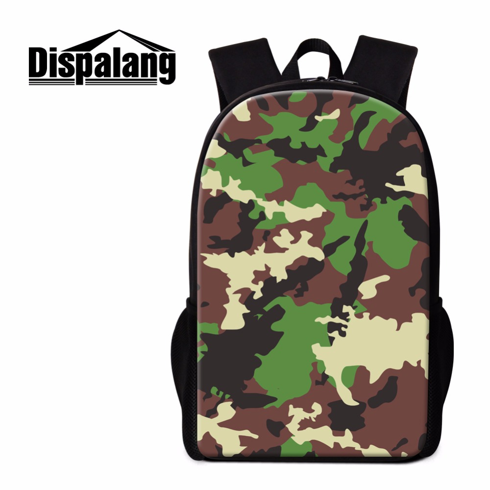 Dispalang High School Backpack for Students Green Camouflage Patterns on Book bags Stylish Daily Bags for Teenagers Childrens