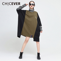 CHICEVER Striped Irregular Women Dress Patchwork Turtleneck Pullovers Loose Big Size Dresses Female Clothes Fashion Vestidos