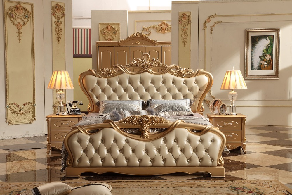 Free Shipping King Size Royal Champagne Soft Bed Wood Carving Leather Bed European Style Master Bedroom Large Size Bed MB-A0312 enhanced version of european style metal bed iron bed double bed pastoral style student bed 1 5 meters 1 8 meters