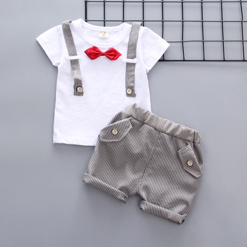 c1ff842fc92 Newborn Summer baby boys clothes set new style t-shirt + shorts 2pcs  newborn boy gentleman clothing set