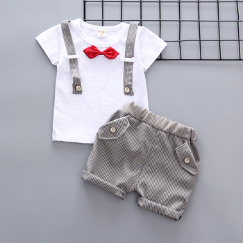 Newborn Summer baby boys clothes set new style t-shirt + shorts 2pcs newborn boy gentleman clothing set