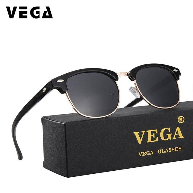 cbde79f6ae VEGA Classic Brand Designer Polarized Sunglasses Women Men Retro Super  Future Glasses Polarization Semi-rimless