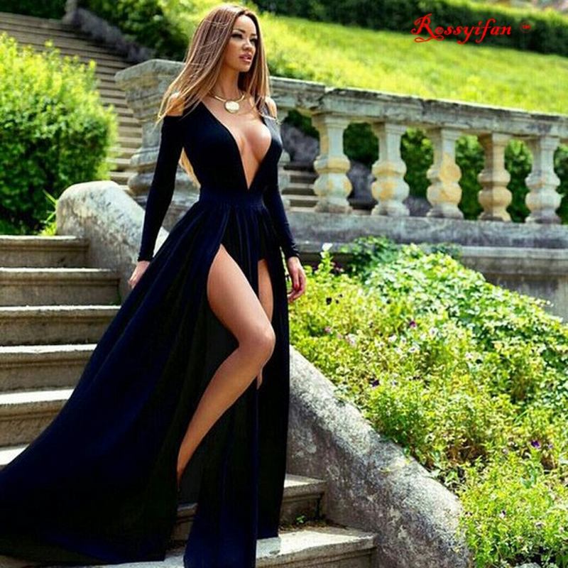 d8e6d7f6cf Sexy Deep V neck Long Sleeve Prom Dresses 2017 Navy Blue Long Evening Dress  Gown With High Slit vestido longo-in Prom Dresses from Weddings & Events on  ...