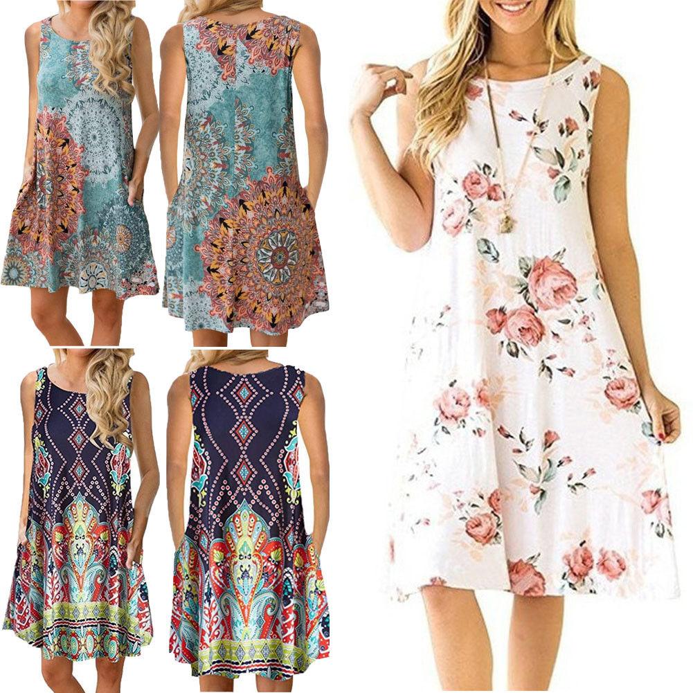 Plus Size Sleeveless Summer Dress Women Fashion Boho Dresses 2018 Casual Women Loose Dress Sundress Outfits Fashion Mini Dress 1