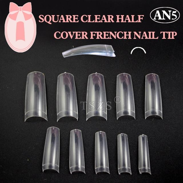 1bags/ lot -500pcs Clear French Nail Tips False Acrylic Nail Art Tips