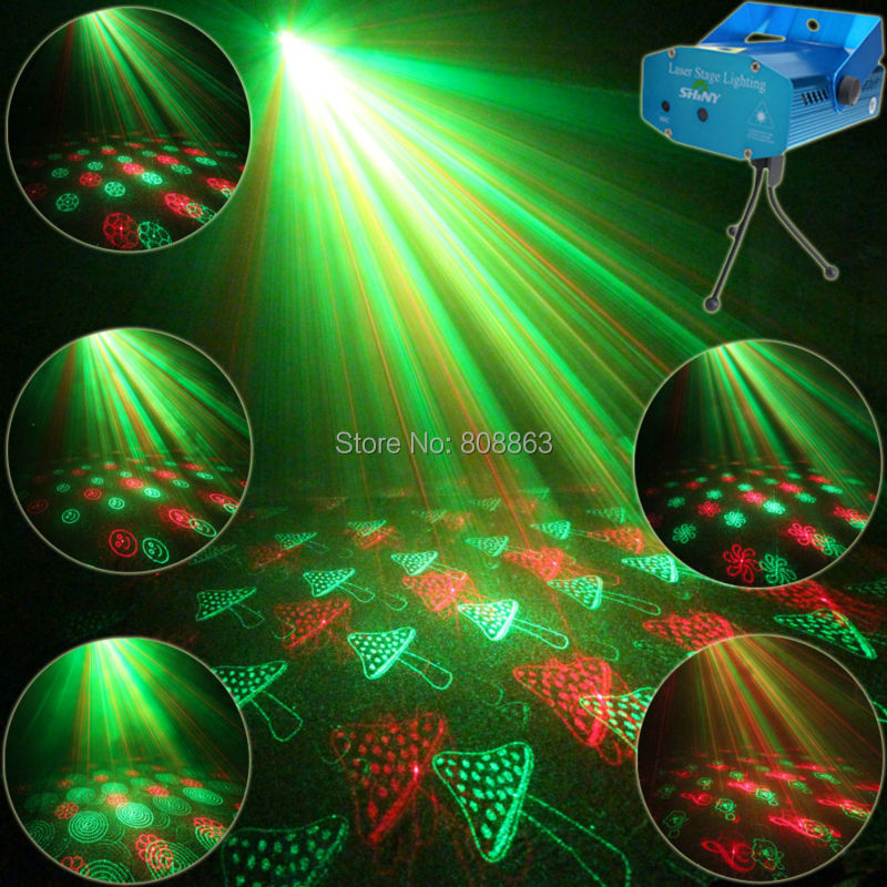 Mini R&G Laser 24 Xmas Patterns Projector Club Bar Lighting Light Dance Disco Shop Home Party DJ Stage Lights Show Y24 + Tripod