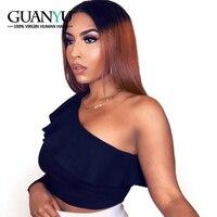 Guanyuhair Ombre 1B/30 синтетические волосы на кружеве Искусственные парики натуральные волосы два тона прямо бразильский волосы remy Предварительно