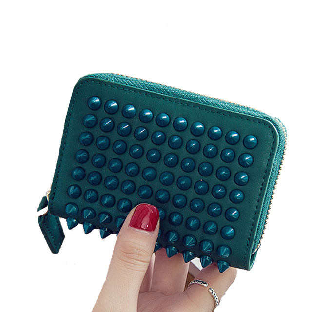 Hazy beauty New rock stud women genuine leather changing color card holder easy holding lady credict card puttings hot sellDH115