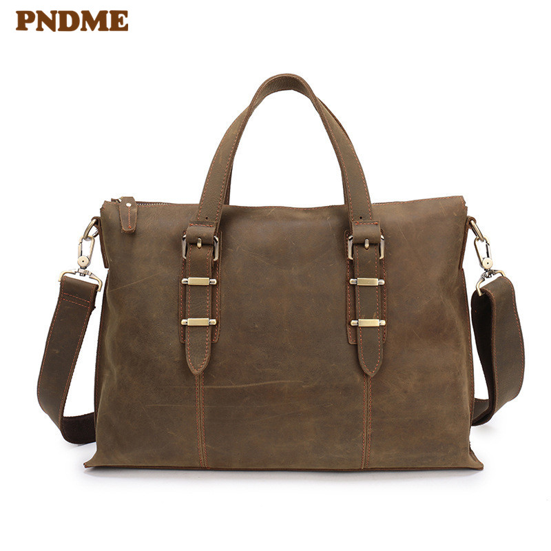 PNDME Simple Vintage Genuine Leather Men's Briefcase Business Bag Crazy Horse Leather 14 Inch Laptop Bag Brown Messenger Bags