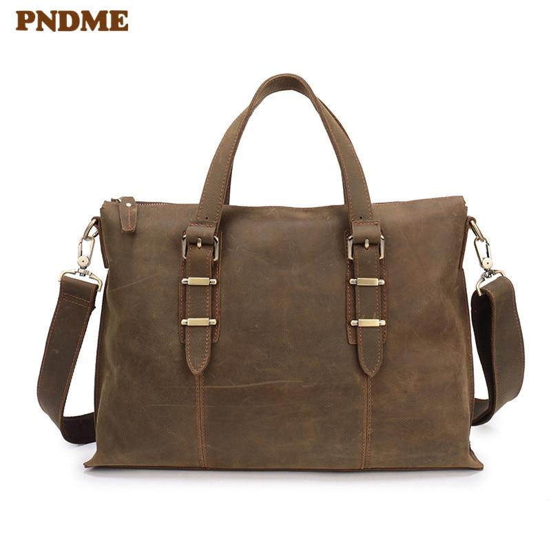 PNDME Simple Vintage Genuine Leather Men's Briefcase Business Bag Crazy Horse Leather 14 Inch Laptop Bag Brown Messenger Bags