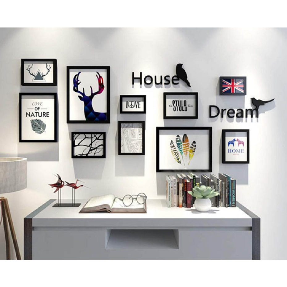 Hot Sale 12 Pieces Wood Photo Frame Wall Love Pictures Frame Weeding Graduation Gifts Wall Art Paintings Frame Set Home Decor in Frame from Home Garden