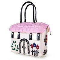 PINK PU Printing Women Bags Italy Bracci Handbag Style Retro Handmade Bolsa Feminina Braccialini For Ladies