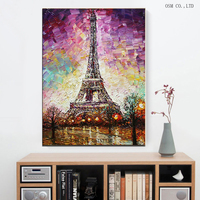 Hand Painted High Quality Lovely Paris Landscape Oil Painting For Living Room Decoration Abstract Paris Eiffel Tower Painting