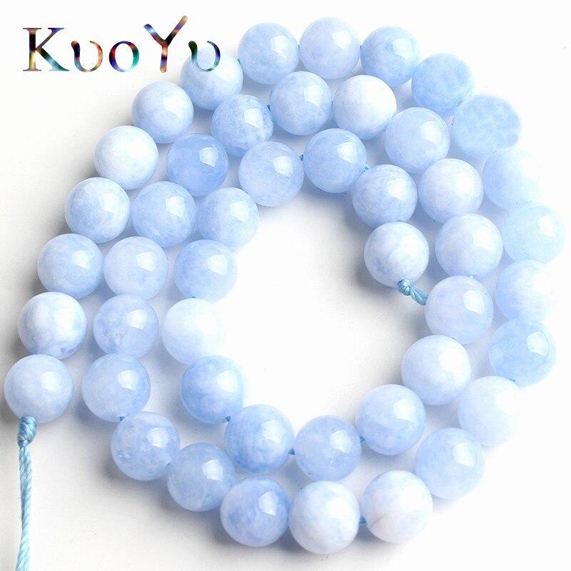 Azul Natural Angelite cuentas redondas de piedras cuentas espaciadoras sueltas 15Strand/pulgadas de 6/8/10/12mm para fabricación de joyería DIY pulseras collar