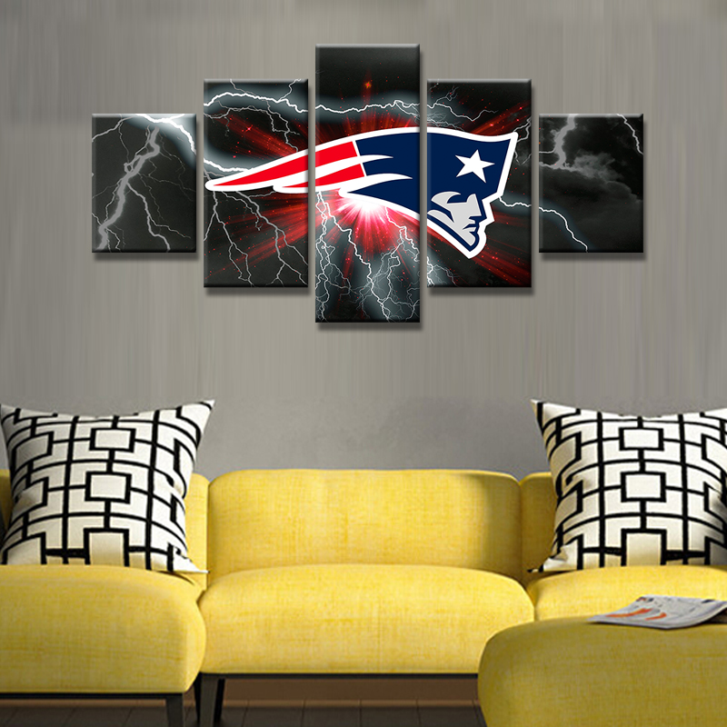 Patriots Accent Wall Painting: 5 Panel Art HD Printed New England Patriots Flag Wall Art