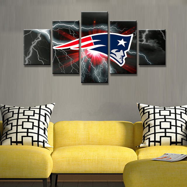 5 Panel Art HD Printed New England Patriots Flag Wall Art Picture ...