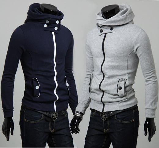 Free shipping 2013 spring and autumn new men's fashion Casual slim button diamond decoration hoody jackets sweatshirts outerwear