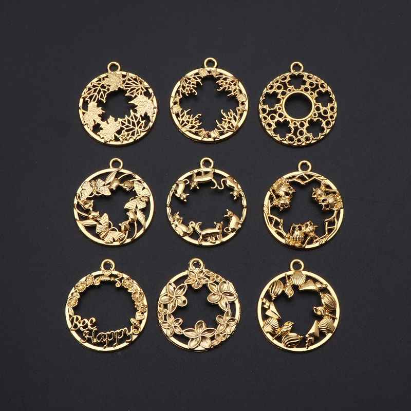 9Pcs DIY Round Cabochon Pendant Resin Blank Frame Pendants Bezel Jewelry Making