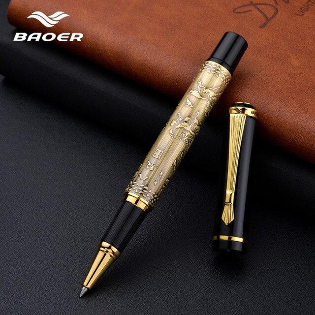 Baoer507 Ballpoint Pen Rollerball Pen Gift Caneta Gel Pen Luxury Gift Stationery Beautifully Embossed 0.5mm Black Pull Cover Pen
