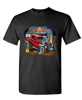 OKOUFEN Custom Shirts Online Graphic Crew Neck Hot Rod Garage Race Low Hot Muscle Car Short