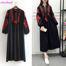 f326c6b979c51 Cheshanf Floral Embroidered Ethnic Dress Cotton Linen Lantern Long Sleeve  Maxi Dress Black Blue White Loose