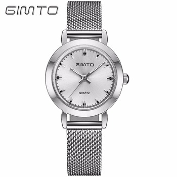 Luxury Brand GIMTO Silver Watches Women Stainless Steel 4 Model White Quartz Lady Watches Fashion Minimalism Gift Clock