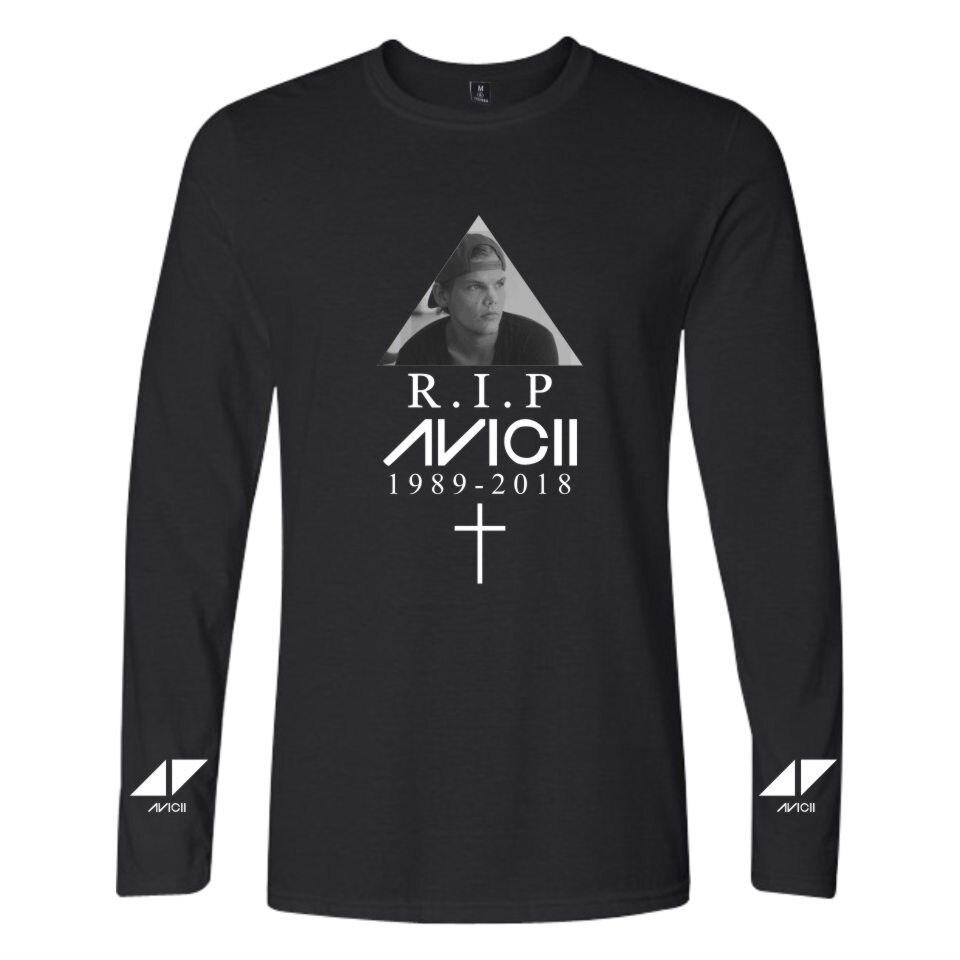 LUCKYFRIDAYF 2018 BTS DJ Avicii R.I.P. Long Sleeve T-shirt Men/Women Summer Cotton Fashion Hip Hop T Shirt Tee Shirt Clothes 4XL