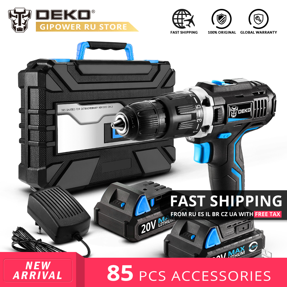 DEKO GCD20DU3 20V MAX Lithium Battery DIY Power Driver Variable Speed Electric Screwdriver Impact Cordless Drill with LED LightDEKO GCD20DU3 20V MAX Lithium Battery DIY Power Driver Variable Speed Electric Screwdriver Impact Cordless Drill with LED Light