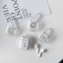 LAUGH LIFE Hard Earphone Case For Apple Airpods Cover Cute Phiz Smile Transparent Clear Luxury Cases